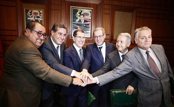 مــيثاق الأغلبيــة: زعماء الأغلبية يوقعون ميثاق الاستمرار مع العثماني