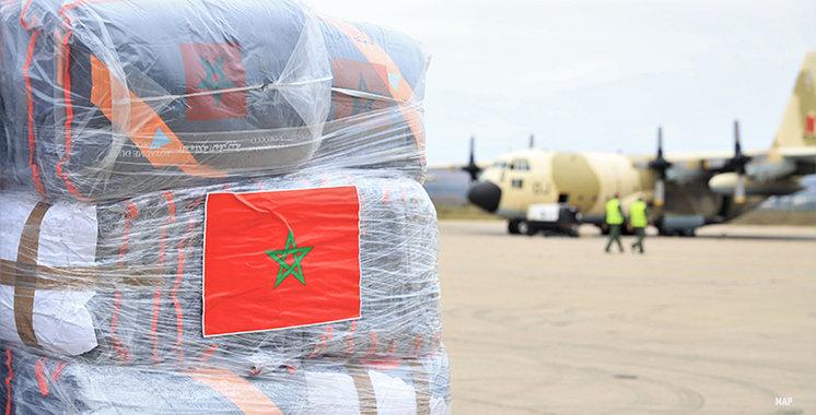 Envoi d'une aide humanitaire d'urgence au peuple palestinien ordonnée par le Roi du Maroc.